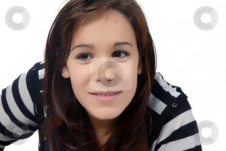Portrait stock photo, Young woman portrait in a white background by Rui Vale de Sousa