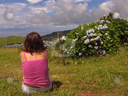 Peaceful stock photo, Girl in azores landscape by Rui Vale de Sousa