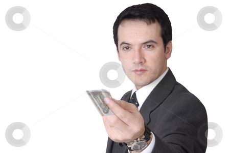 Money stock photo, Attractive young business man a over white, focus on the money by Rui Vale de Sousa