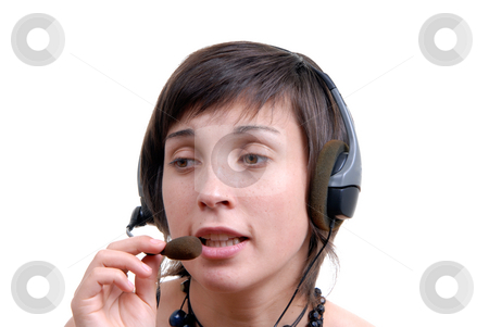 Support stock photo, Woman secretary with hands free set answering a call by Rui Vale de Sousa