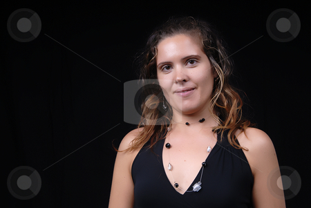 Woman stock photo, Young model woman portrait on black background by Rui Vale de Sousa