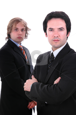 Two stock photo, Two young business men portrait on white. focus on the right man by Rui Vale de Sousa