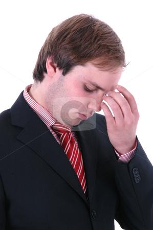 Headache stock photo, Worried business man portrait in a white background by Rui Vale de Sousa