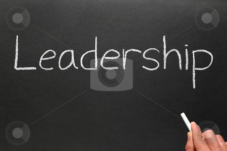 Writing leadership on a blackboard. stock photo, Writing leadership on a blackboard. by Stephen Rees