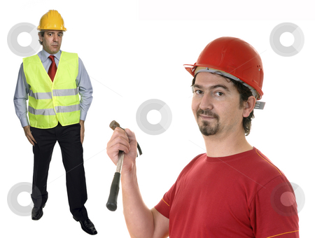 Workers stock photo, Mature engenier and foreman insolated on white background by Rui Vale de Sousa
