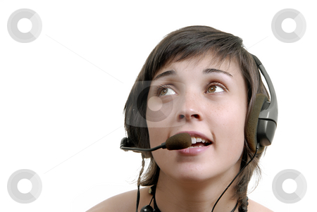 Call stock photo, Woman secretary with hands free set answering a call by Rui Vale de Sousa