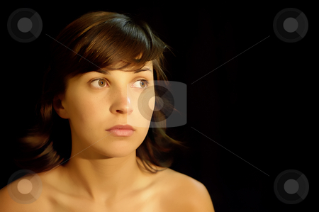 Women stock photo, Young woman portrait in a black background by Rui Vale de Sousa