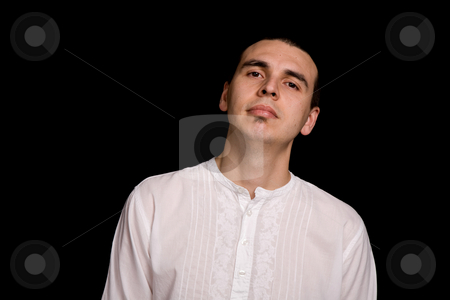 Casual stock photo, Young casual man portrait, on a black background by Rui Vale de Sousa