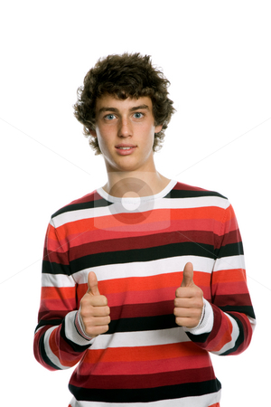 Thumbs up stock photo, Casual young man portrait, isolated on white by Rui Vale de Sousa