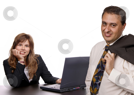 Smile stock photo, Young business couple portrait isolated on white by Rui Vale de Sousa