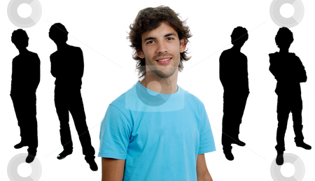 Young man stock photo, Young man portrait with some men in silhouette by Rui Vale de Sousa