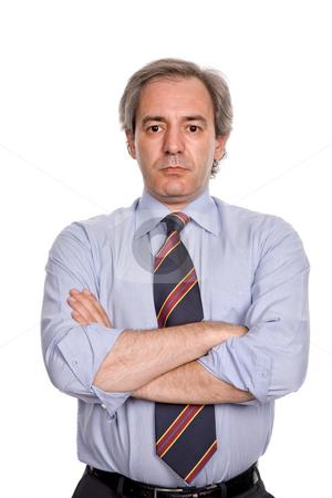 Portrait stock photo, Mature business man portrait in white background by Rui Vale de Sousa