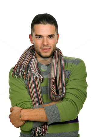 Happy stock photo, Studio picture of a young man dressed for winter by Rui Vale de Sousa