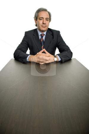 Thoughts stock photo, Mature business man on a desk, isolated on white by Rui Vale de Sousa