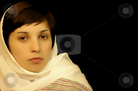 Woman stock photo, Young casual woman portrait in a black background by Rui Vale de Sousa