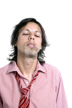 Closed eyes stock photo, Young casual man portrait in white background by Rui Vale de Sousa