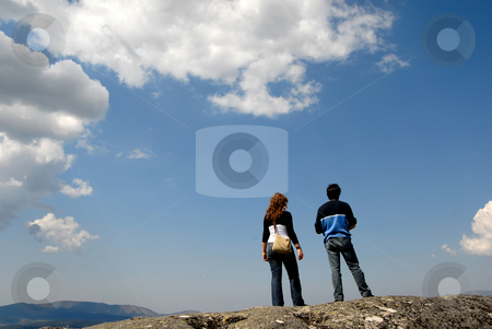Couple stock photo, Young couple in the top of the mountains by Rui Vale de Sousa