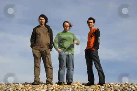 Beach stock photo, Three casual young men at the beach by Rui Vale de Sousa