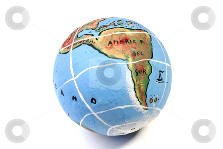 Globe stock photo, Closeup of a globe showing south america isolated on white by Rui Vale de Sousa