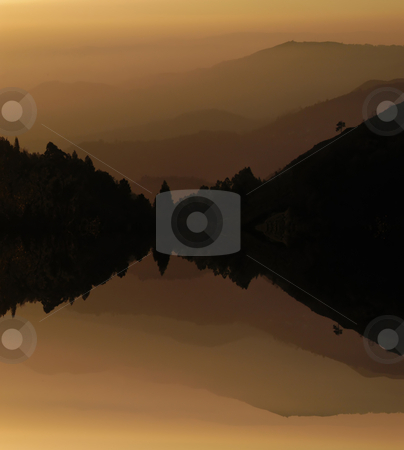 Sunset stock photo, Mountain layers sunset, with lake water reflection by Rui Vale de Sousa