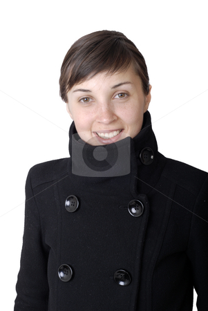 Smile stock photo, Girl smile white teeth over white background by Rui Vale de Sousa