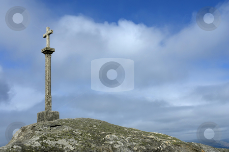 Cross stock photo, Rock cross in the coast of spain by Rui Vale de Sousa