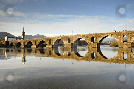 Lima stock photo, Bridge and church of Ponte de Lima em Portugal by Rui Vale de Sousa