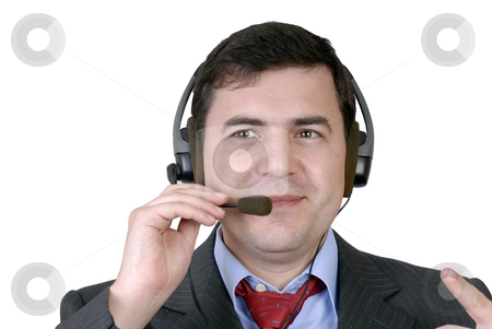 Call stock photo, Young call center man talking by the phone by Rui Vale de Sousa