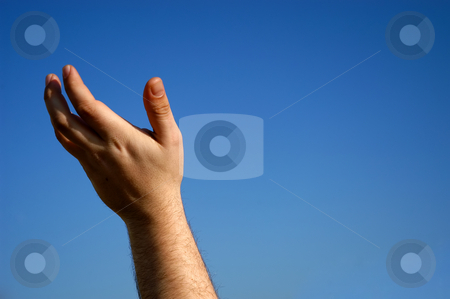 Reach stock photo, Human male hand with the sky as background by Rui Vale de Sousa