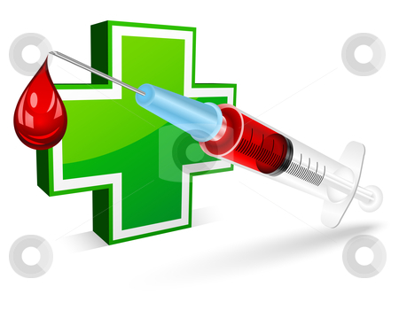 Syringe  stock vector clipart, Syringe for a blood test by Laurent Renault