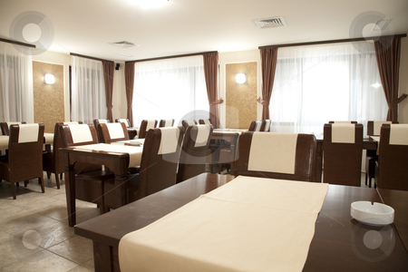 Restaurant interior stock photo, Modern restaurant empty in brown elegant style by Adrian Costea