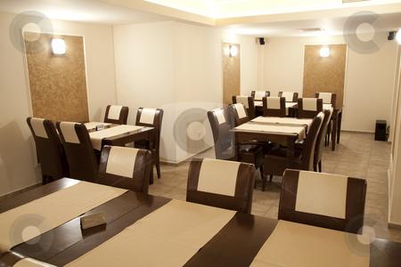 Empty restaurant stock photo, Modern restaurant empty in brown elegant style by Adrian Costea