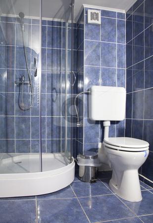 Hotel bathroom stock photo, Hotel elegant bathroom empty with blue color by Adrian Costea