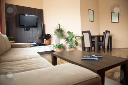 Hotel livingroom stock photo, Hotel living room with brown and beige four stars empty by Adrian Costea
