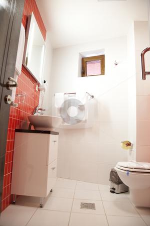 Hotel bathroom stock photo, Hotel elegant bathroom empty with red color by Adrian Costea