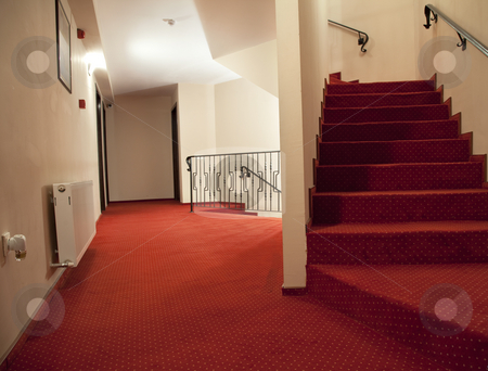 Hotel stairs stock photo, Hotel hall with stairs and steps elegant style by Adrian Costea