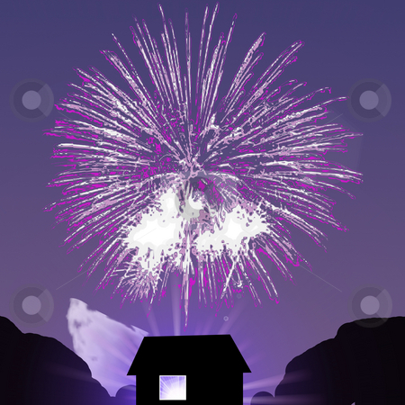 Firework Celebration stock photo, Fireworks burst over a house silhouetted against the evening sky. by Karen Carter