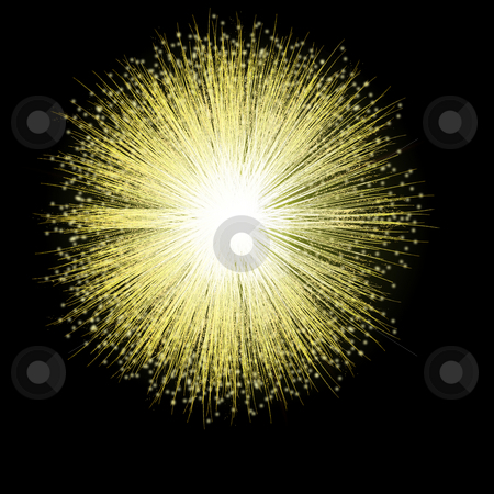 Golden Firework Blossom stock photo, A single firework bursts in a golden blossom against the night sky. by Karen Carter