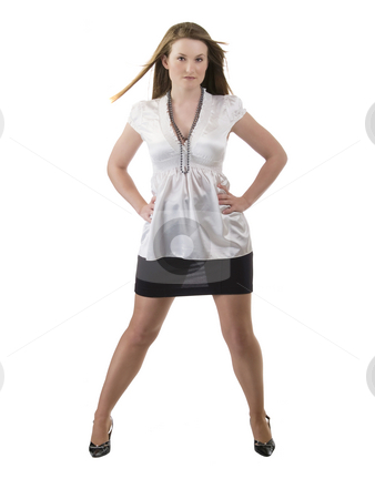 Full length woman in black skirt and white blouse stock photo, Young woman standing with arms akimbo black skirt white blouse by Jeff Cleveland