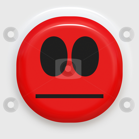 Angry face stock photo, Red smiley face looking angry or ashamed by Wino Evertz