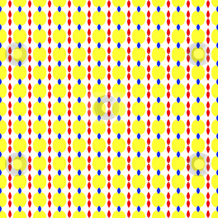 Retro pattern stock photo, Seamless texture of vertical yellow, red and blue lined shapes by Wino Evertz