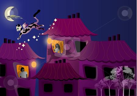 Flying cat stock photo, Illustration by Natacha Audier