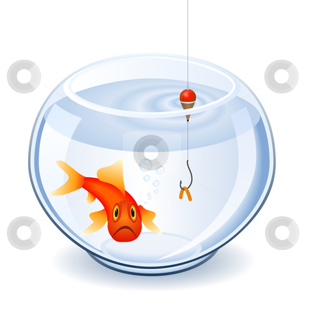 Fishing in fishbowl stock vector clipart, Fishing the goldfish with a worm by Laurent Renault