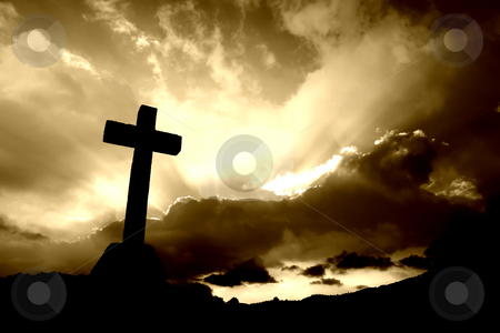 Cross stock photo, Christian cross silhouette and the clouds in sepia tone by Rui Vale de Sousa