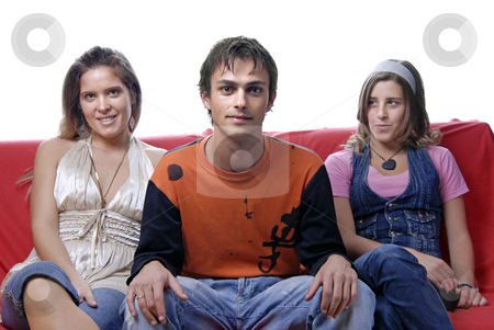 People stock photo, Two woman and a boy in a sofa by Rui Vale de Sousa