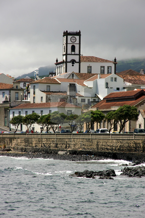 Village stock photo, View from a boat of a village of azores by Rui Vale de Sousa
