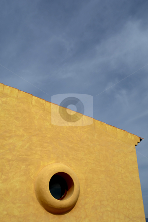 Circle stock photo, Small house detail with the sky as background by Rui Vale de Sousa