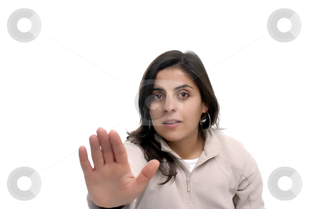 Stop stock photo, Woman going stop with the hand (focus on the face) by Rui Vale de Sousa