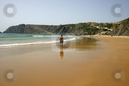 Walk stock photo, Man on the beach by Rui Vale de Sousa