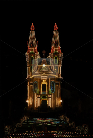 Church stock photo, Church with christmas lights at the dark night by Rui Vale de Sousa